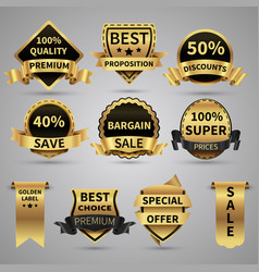 Luxury golden labels and elegant gold emblems vector