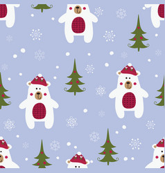 Christmas seamless pattern with polar bears vector