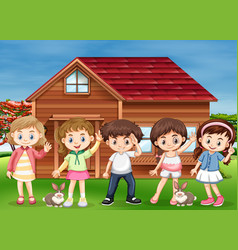 Many children happy at home vector