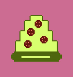 Pixel icon in flat style pizza with salami vector