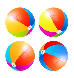 Colorful beach balls set isolated on white vector