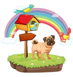 Dog and rainbow vector