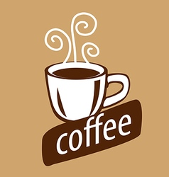 Logo cup of coffee and steam vector