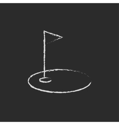 Golf hole with a flag icon drawn in chalk vector