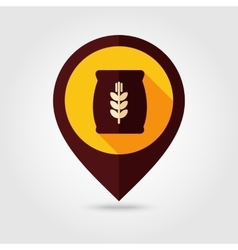 Sack of grain flat mapping pin icon vector