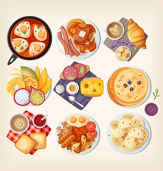 Classic breakfasts from all over the world vector image