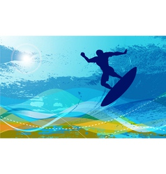 Surfer with waves vector