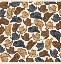background pattern with cowboy hats vector image