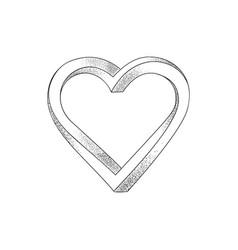 Black heart on white background optical of 3d vector