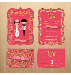 Bride and groom rustic floral wedding invitation vector