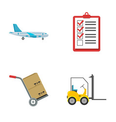 cargo plane cart for transportation boxes vector image vector image