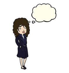 Cartoon woman in trench coat with thought bubble vector