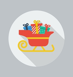 Christmas flat icon santa sledge vector