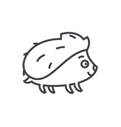 cute hedgehong line icon sig vector image vector image