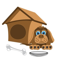 Dog and kennel vector