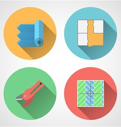 Flat icons for linoleum flooring service vector