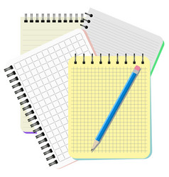Four notebooks and blue pencil vector