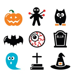 Halloween icons set - pumpkin witch ghost vector image vector image