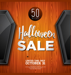 Hallowen sale with coffin and holiday elements on vector