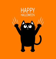Happy halloween black cat claw scratch glass vector