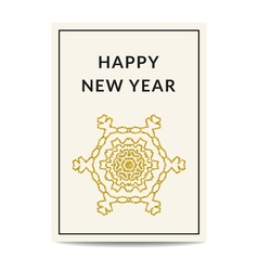 Happy new year greeting card golden snowflake vector