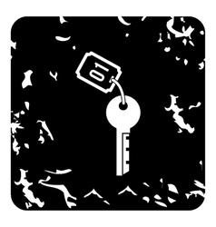 Hotel key icon grunge style vector