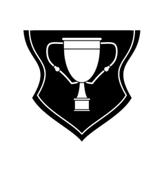 Isolated trophy cup inside shield design vector
