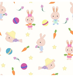 Kids cute seamless pattern with bunnies on white vector