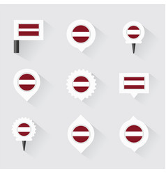 Latvia flag and pins for infographic and map vector
