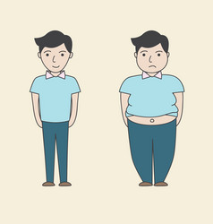 Man slim fat cartoon vector