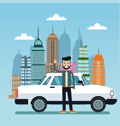Man white car city background vector
