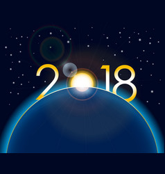 new year 2018 concept - sunrise on earth vector image vector image