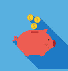 Pig money box icon flat vector