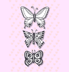 Postcard with hand drawing butterflies cute vector