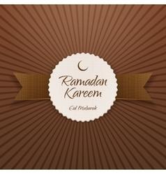 Ramadan kareem eid mubarak realistic label vector