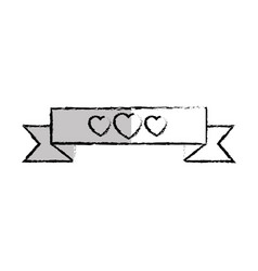 Ribbon of frame with heart icon vector