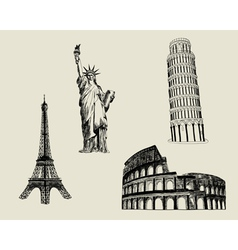 Sketch Landmarks vector image vector image