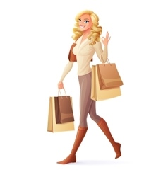 Smiling woman walking with shopping bags vector