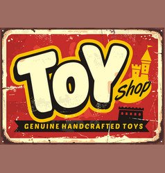 Toy shop or toy store vintage sign vector
