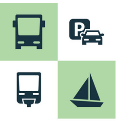 Transportation icons set collection of road sign vector