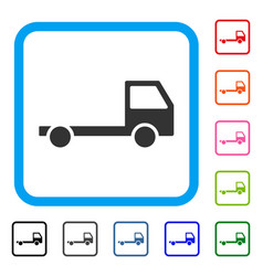 Truck chassis framed icon vector