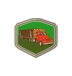 Truck vintage logging shield retro vector