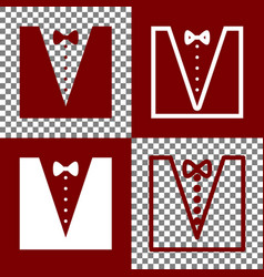 Tuxedo with bow silhouette bordo and vector