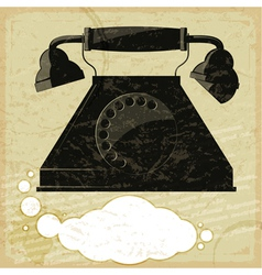 Vintage card with the image of the old telephone vector image vector image