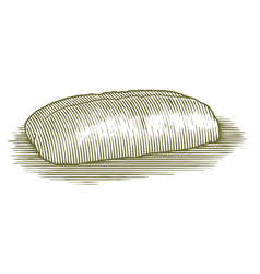 Woodcut italian bread loaf vector