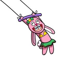 Pink rabbit show vector image