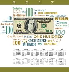 A 2017 calendar with a financial theme vector image