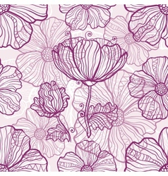 Ornate poppy flowers seamless pattern vector