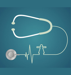 Stethoscope in the shape of heart vector
