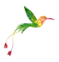 polygonal hummingbird silhouette vector image
